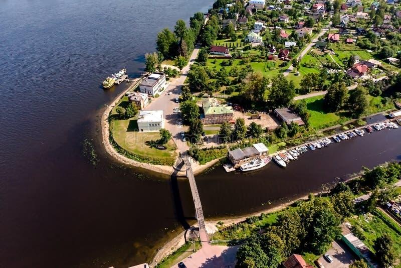 Panorama del pueblo de Ust-Izhora Alrededores de St Petersburg, Rusia fotografía de archivo libre de regalías