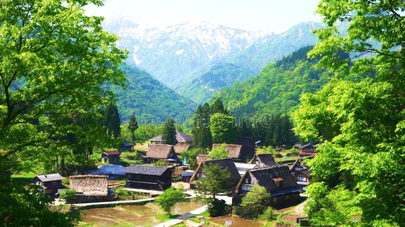 Panorama del pueblo en los mountain's verdes en un día de verano hermoso, China de Shangai Ilustración libre illustration