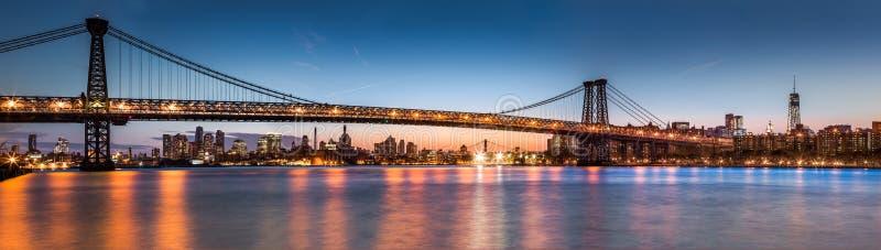 Panorama del puente de Williamsburg imágenes de archivo libres de regalías