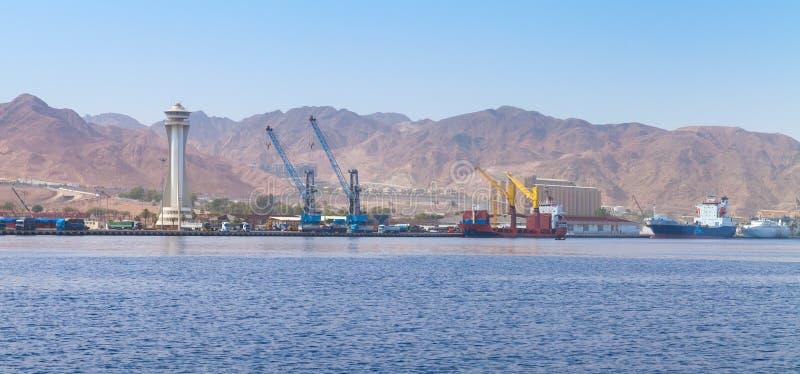 Panorama del puerto de Aqaba, Jordania foto de archivo libre de regalías
