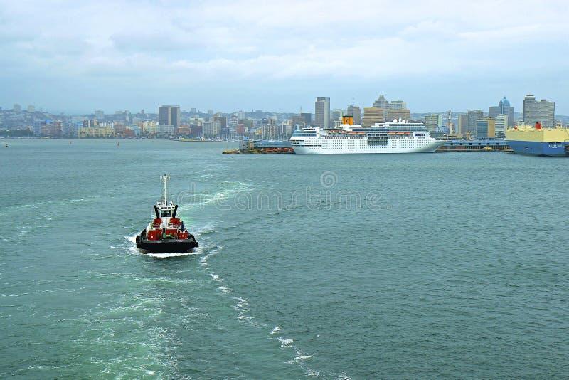 Panorama del puerto de Durban, Suráfrica fotografía de archivo