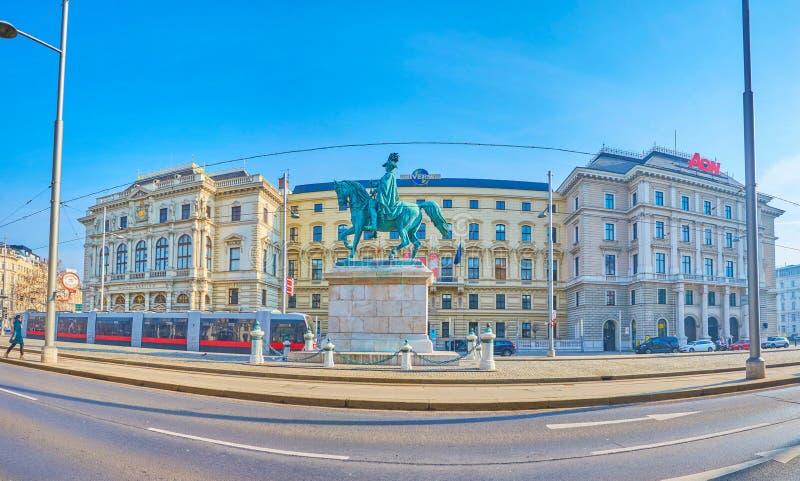 Panorama del quadrato di Schwarzenberg a Vienna, Austria fotografie stock libere da diritti
