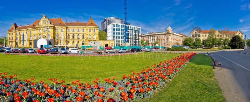 Panorama del quadrato di Tito del maresciallo di Zagabria immagini stock libere da diritti