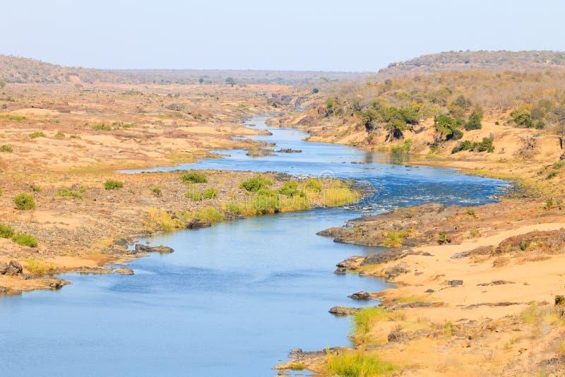 Panorama del río de Olifants del punto de vista del campo de Satara, Kruger Natio imágenes de archivo libres de regalías