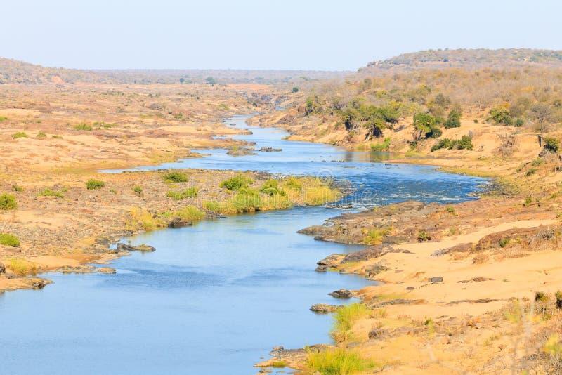 Panorama del río de Olifants del punto de vista del campo de Satara, Kruger Natio imagen de archivo libre de regalías