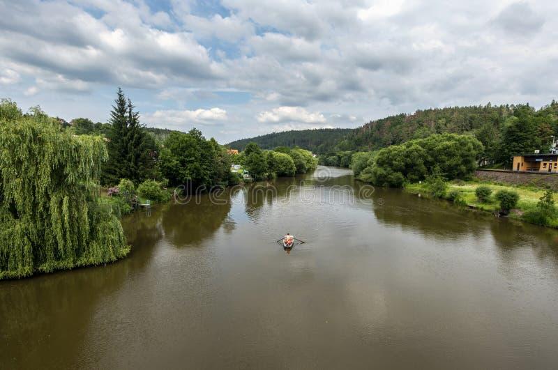 Panorama del río Sazava con las orillas y la canoa verdes de la navegación fotografía de archivo
