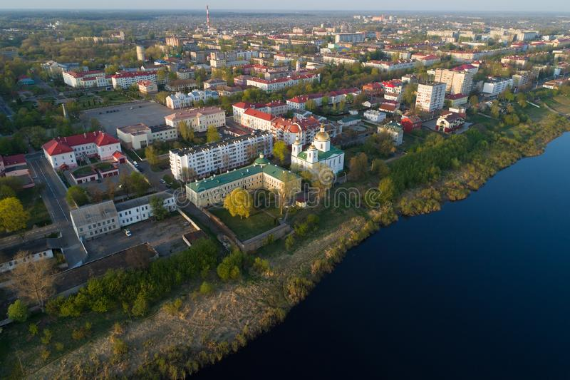 Panorama del rilevamento aereo di Polatsk belarus immagini stock