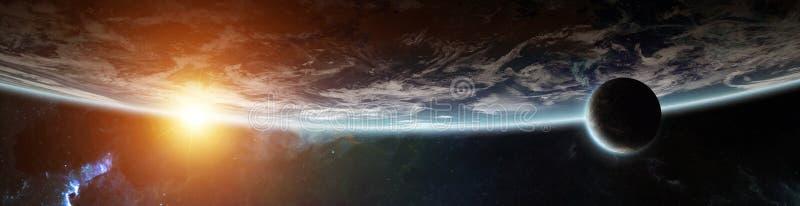 Panorama del sistema distante del pianeta negli elementi della rappresentazione dello spazio 3D illustrazione vettoriale