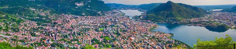 Panorama del sity Lecco imagenes de archivo
