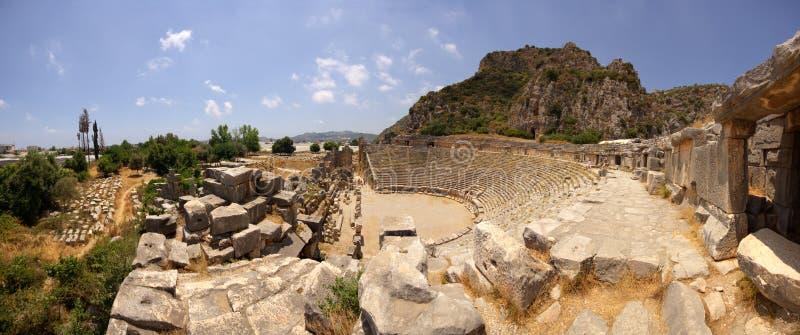 Panorama del teatro greco-romano antico fotografia stock libera da diritti