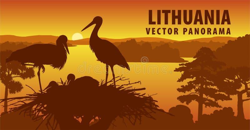 Panorama del vector de Lituania con la familia de cigüeñas en la jerarquía libre illustration