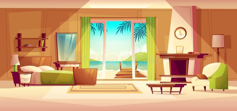 Panorama del vector del interior del chalet Dormitorio del hotel tropical, centro turístico, concepto del turismo libre illustration