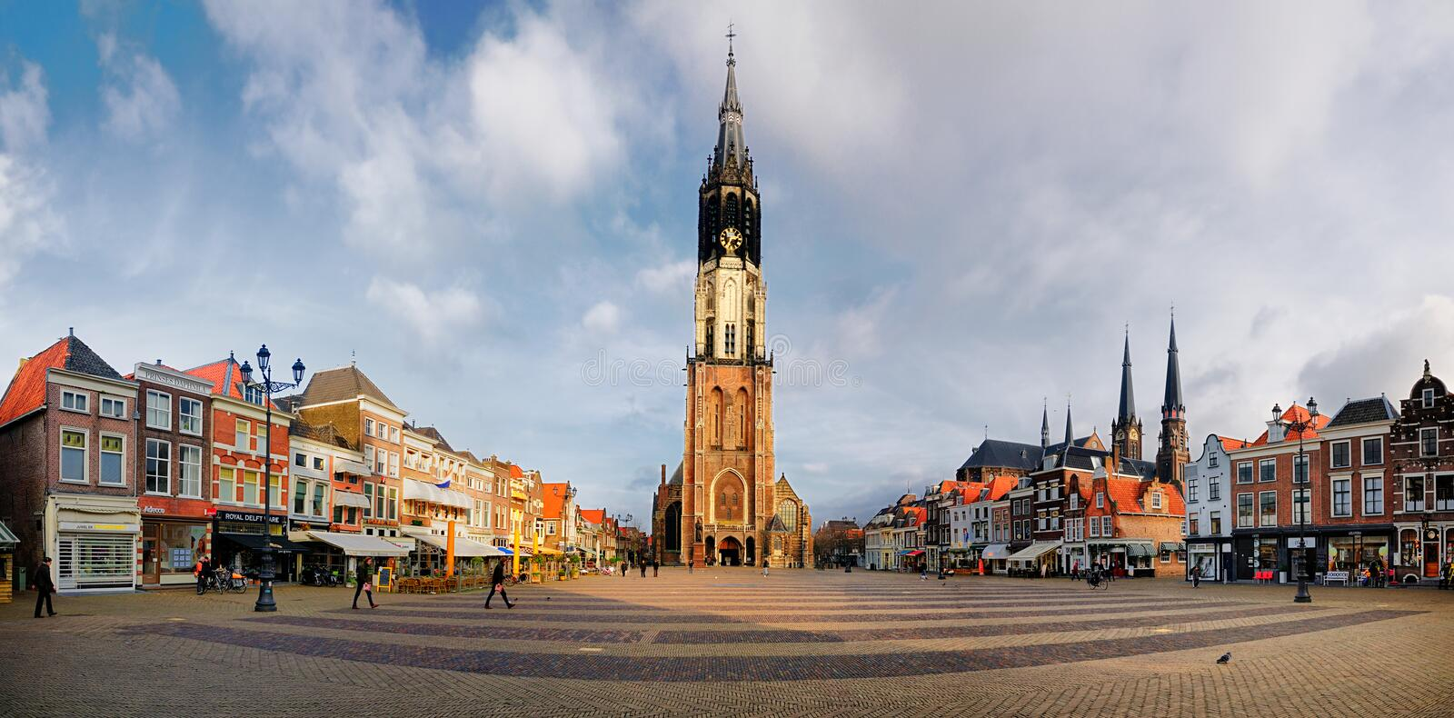 Panorama of Delft. A panorama of the central market square in Delft (de Markt), featuring the new church royalty free stock images