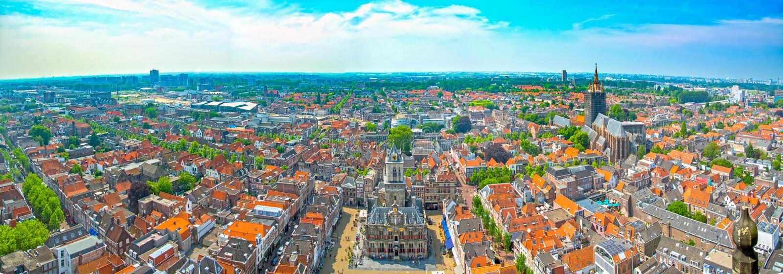Delft in the Netherlands. Panorama of Delft in South Holland, the Netherlands stock photo
