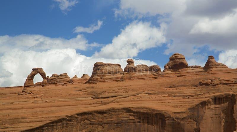 Panorama delicado del arco en el parque nacional Moab Utah de los arcos imágenes de archivo libres de regalías