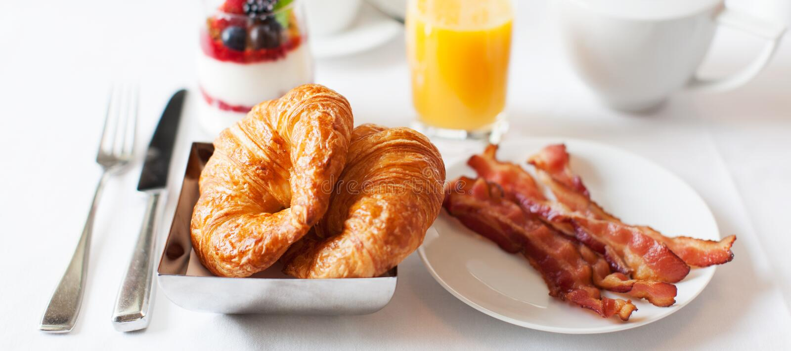 Panorama of delicious breakfast royalty free stock photography