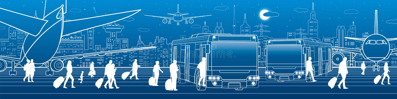 Panorama dell'aeroporto I passeggeri entrano ed escono al bus Infrastruttura del trasporto di viaggio di aviazione L'aereo è sull illustrazione di stock