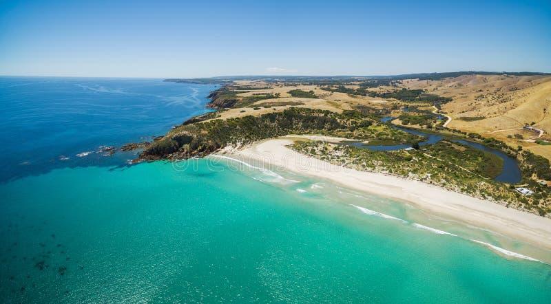 Panorama dell'antenna della spiaggia di Snelling Isola del canguro, Australia Meridionale fotografia stock