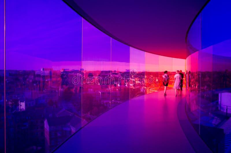 Panorama dell'arcobaleno di Aarhus, Danimarca immagini stock