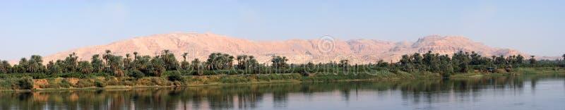 Panorama dell'Egitto del fiume di Nilo, deserto, acqua panoramica fotografia stock libera da diritti