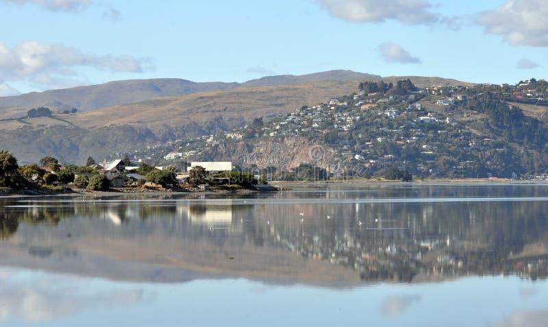 Panorama dell'estuario di Christchurch, Nuova Zelanda fotografia stock