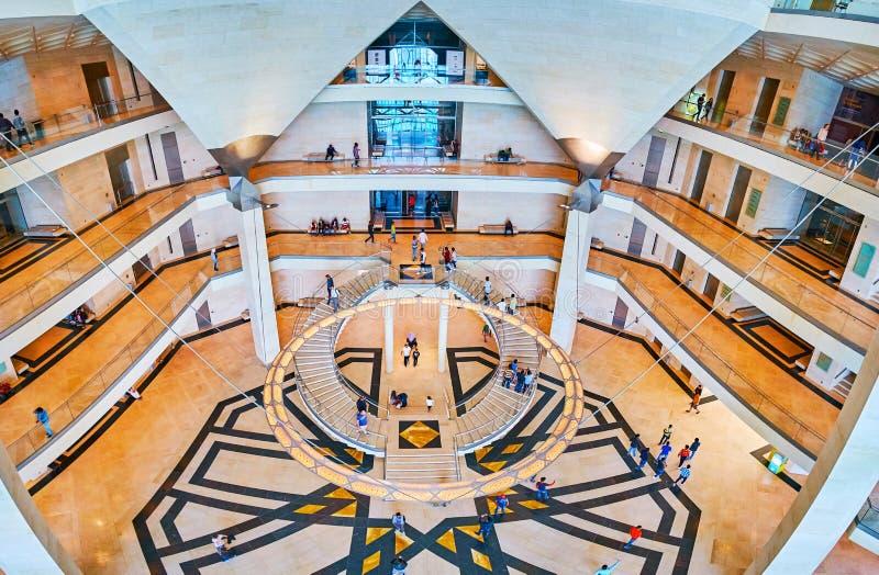 Panorama dell'interno islamico del ` s di Art Museum, Doha, Qatar immagine stock