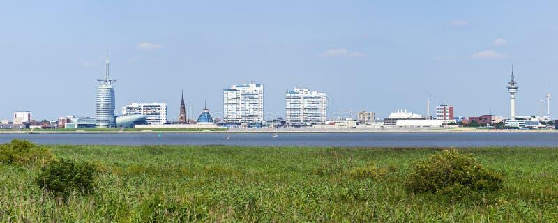 Panorama dell'orizzonte di Bremerhaven immagine stock libera da diritti