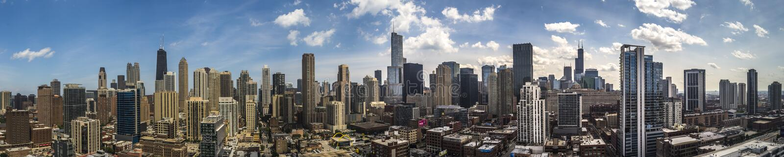 Panorama dell'orizzonte di Chicago fotografia stock