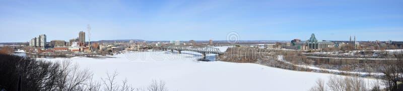 Panorama dell'orizzonte di Gatineau nell'inverno, Ottawa, Canada fotografia stock libera da diritti