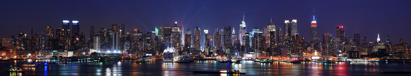 Panorama dell'orizzonte di New York City Manhattan immagini stock libere da diritti