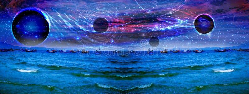 Panorama dell'universo pianeta del fotografia stock libera da diritti