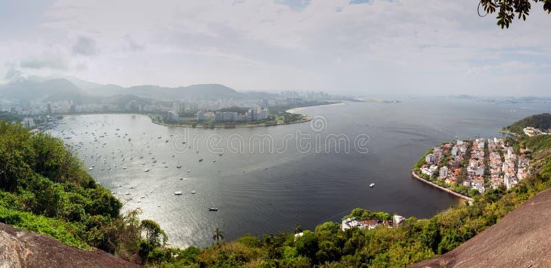 Panorama della baia di Rio De Janeiro fotografie stock