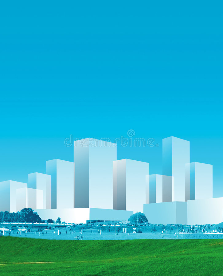 Panorama della città in azzurro illustrazione di stock