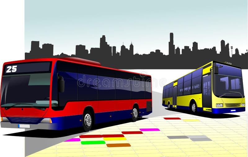 Panorama della città con due basi e le immagini piane illustrazione di stock