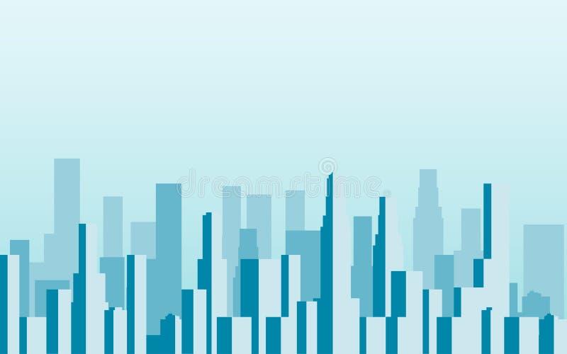 Panorama della città con i grattacieli megalopoli Vettore illustrazione di stock