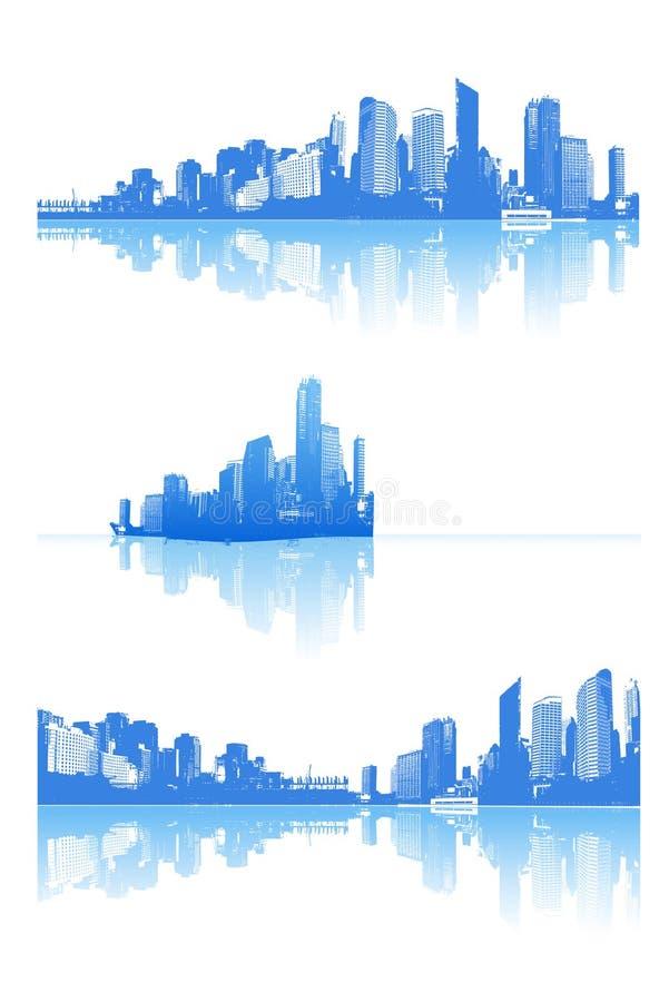 Panorama della città con la riflessione. royalty illustrazione gratis