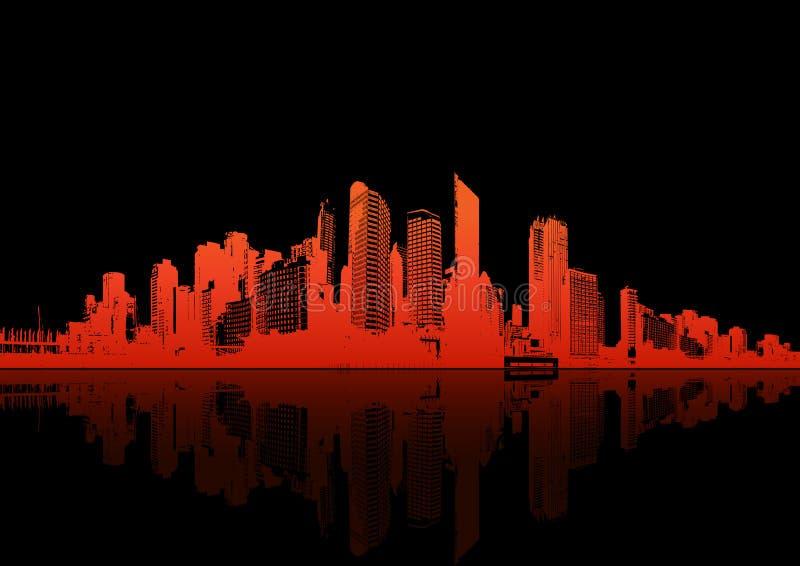 Panorama della città con la riflessione. Vettore royalty illustrazione gratis