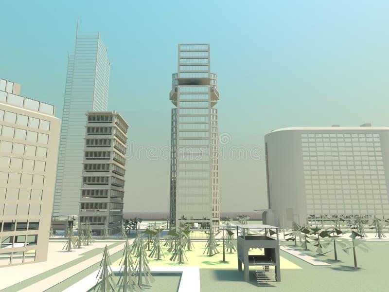 Panorama della città del deserto illustrazione di stock