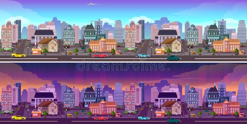 Panorama della città di notte e di giorno royalty illustrazione gratis