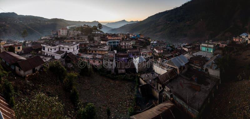 Panorama della città di San Mateo Ixtatan, Guatema fotografia stock