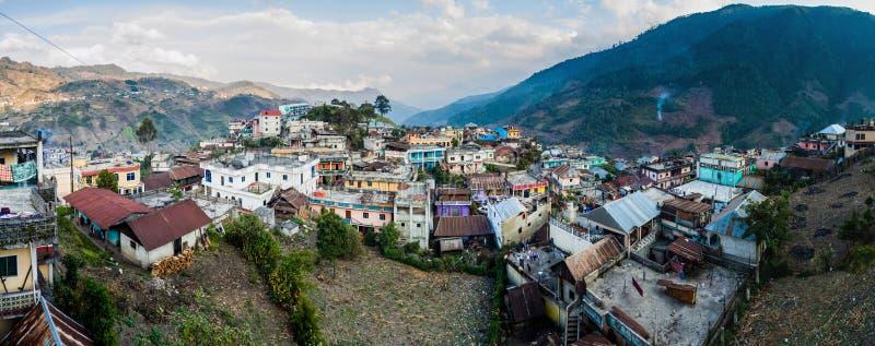 Panorama della città di San Mateo Ixtatan, Guatema immagine stock