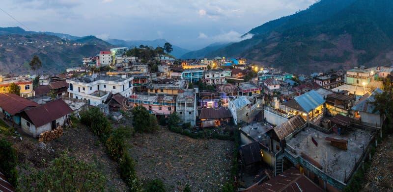 Panorama della città di San Mateo Ixtatan, Guatema fotografie stock