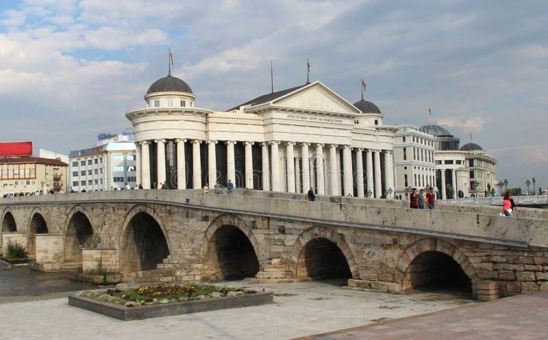 Panorama della città di Skopje, Macedonia fotografie stock