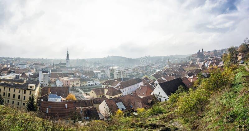 Panorama della città di Trebic, repubblica Ceca fotografie stock