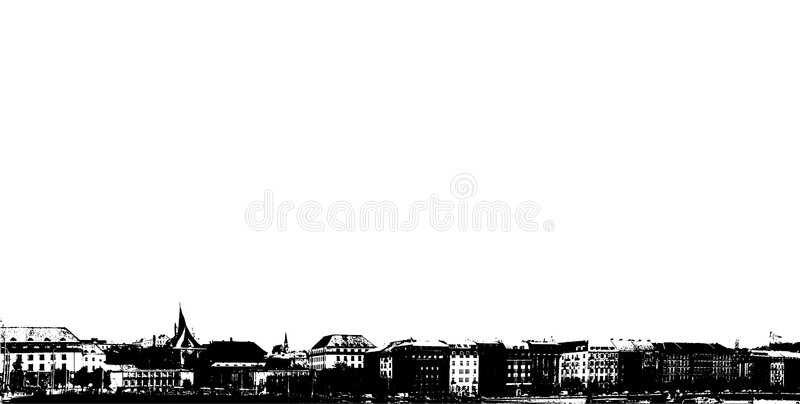 Panorama della città sulla riva del fiume. illustrazione vettoriale