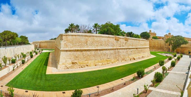 Panorama della fortezza di Mdina, Malta fotografia stock libera da diritti