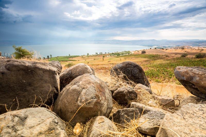 Panorama della Galilea preso dal supporto delle beatitudini immagine stock libera da diritti