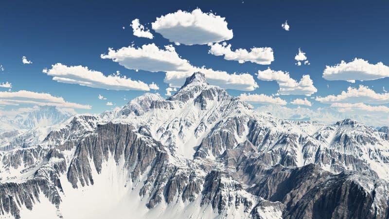 Panorama della montagna con le nuvole piacevoli del tempo illustrazione vettoriale