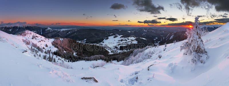 Panorama della montagna di inverno - Donovaly immagini stock