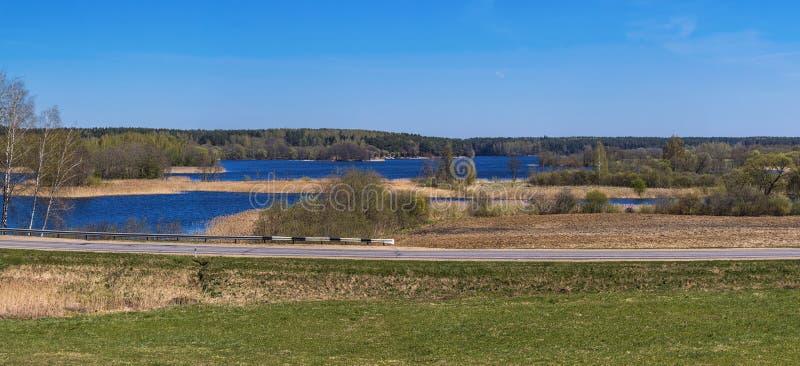 Panorama della primavera con il lago, l'isola, il cielo e la foresta blu su Th immagine stock libera da diritti